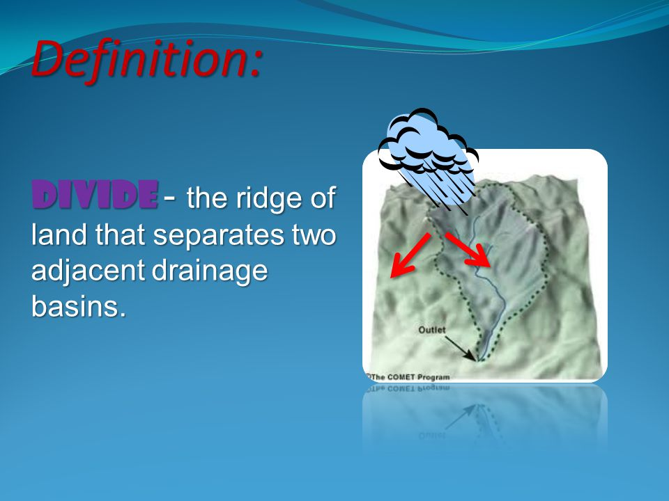 Definition: Divide - the ridge of land that separates two adjacent drainage basins.