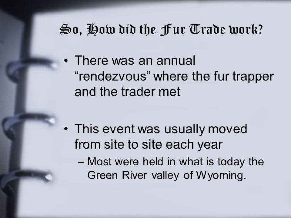So, How did the Fur Trade work