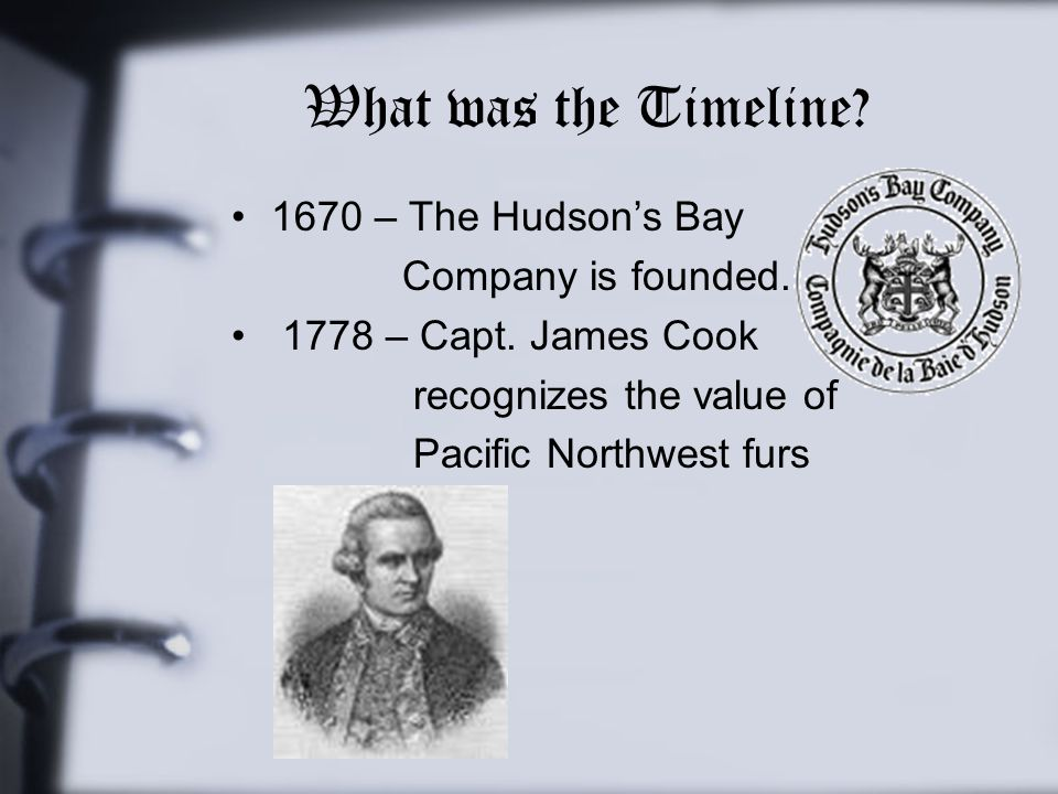 What was the Timeline 1670 – The Hudson's Bay Company is founded.