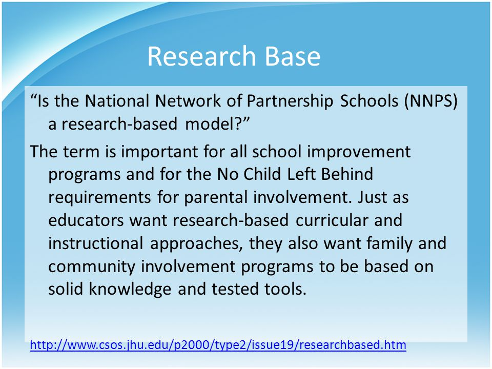Research Base Is the National Network of Partnership Schools (NNPS) a research-based model