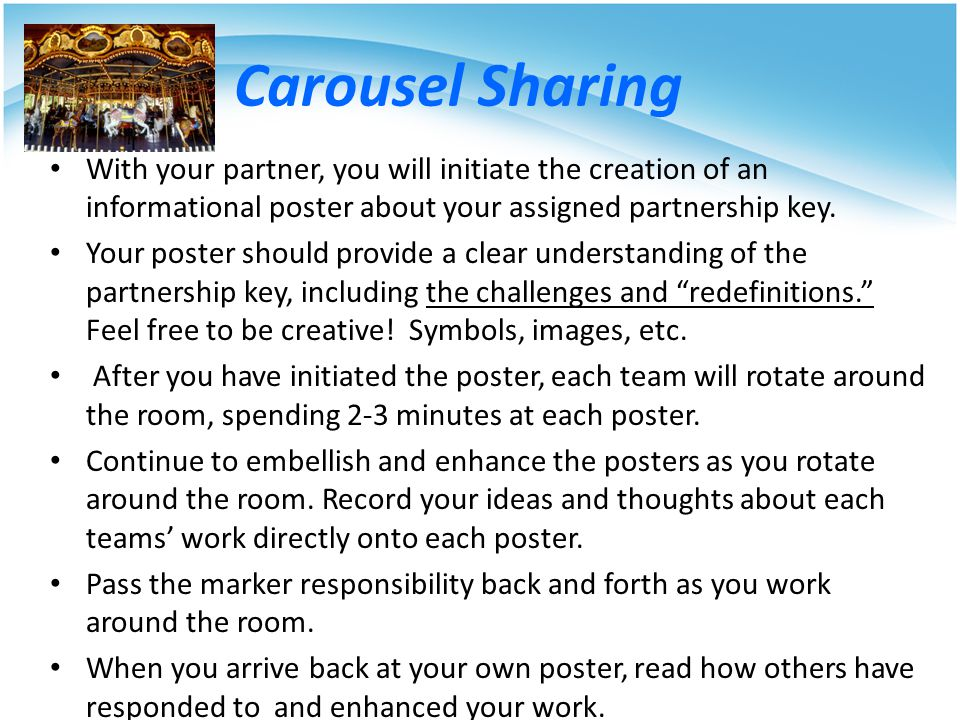 Carousel Sharing With your partner, you will initiate the creation of an informational poster about your assigned partnership key.