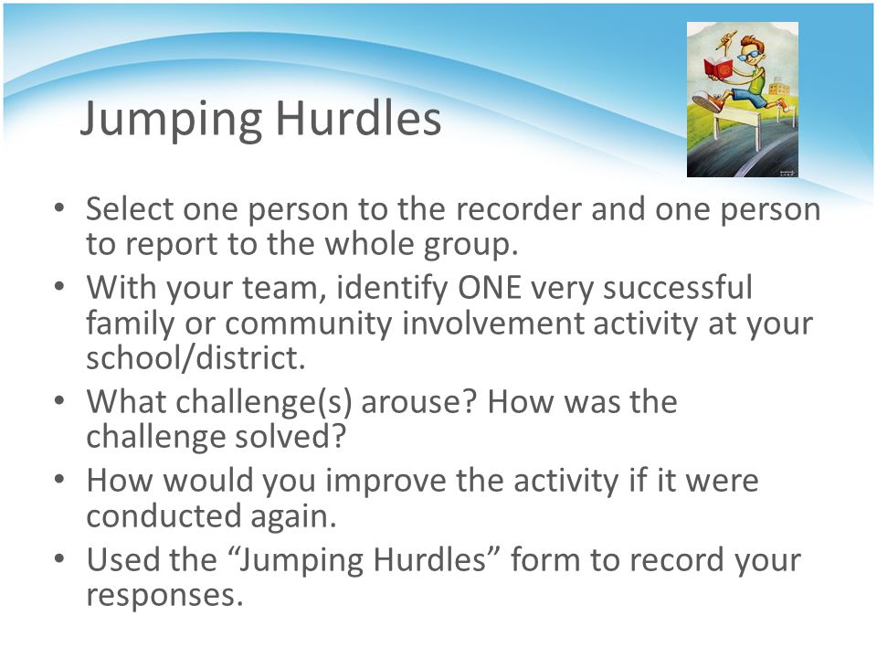Jumping Hurdles Select one person to the recorder and one person to report to the whole group.