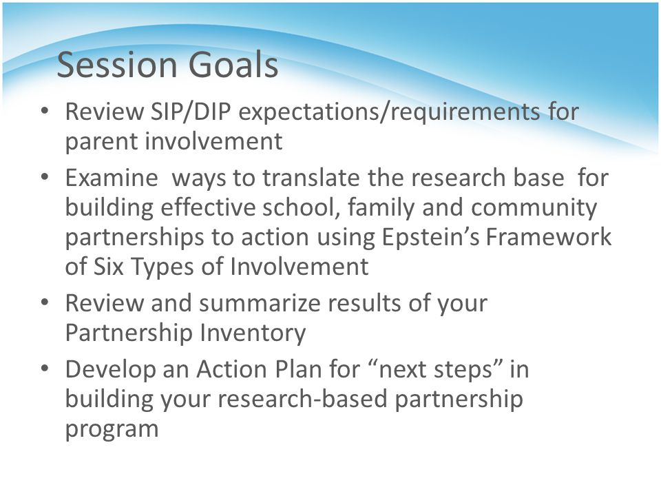 Session Goals Review SIP/DIP expectations/requirements for parent involvement.