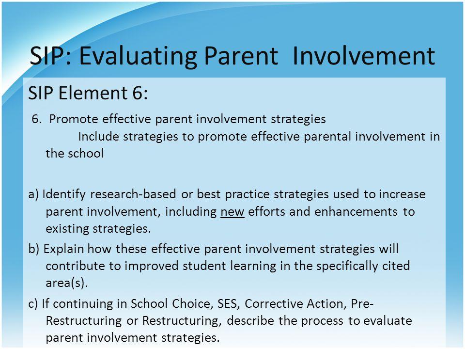 SIP: Evaluating Parent Involvement