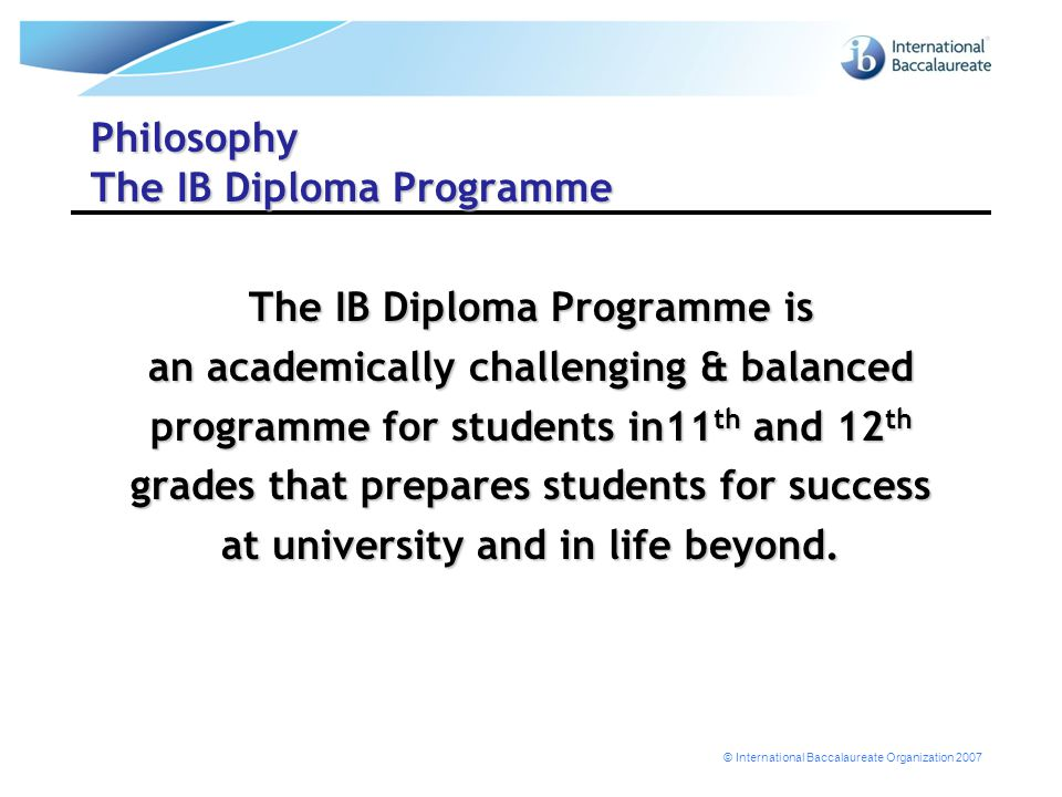Philosophy The IB Diploma Programme