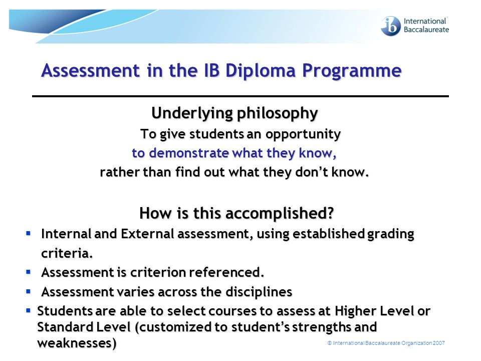 Assessment in the IB Diploma Programme