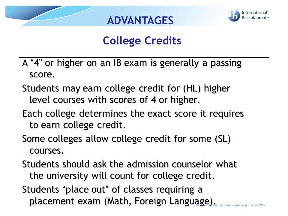 ADVANTAGES College Credits