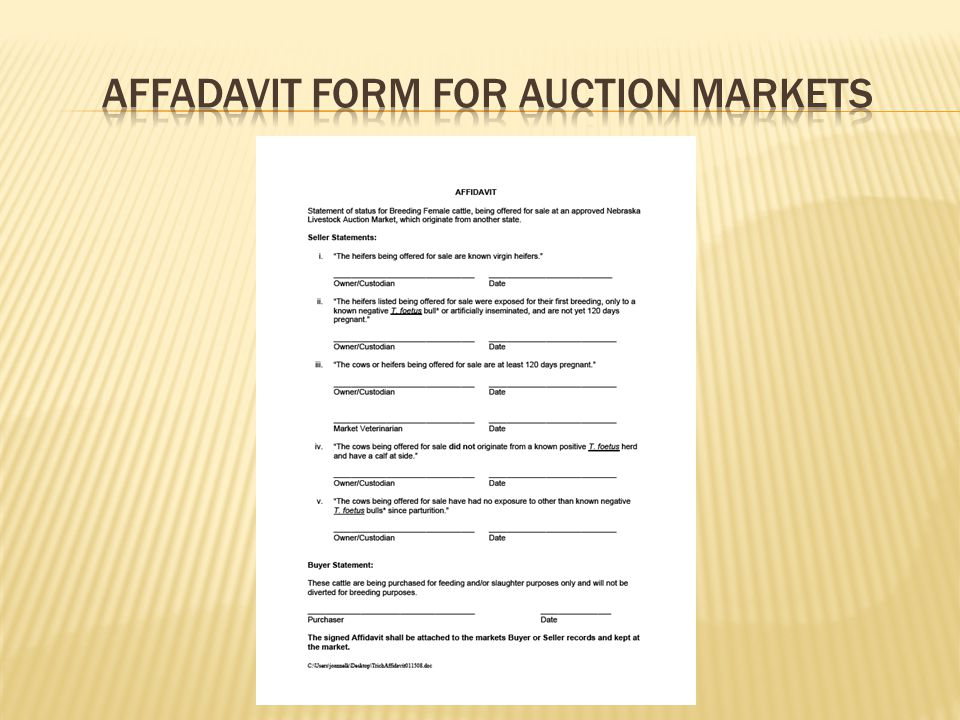 Affadavit form for auction markets