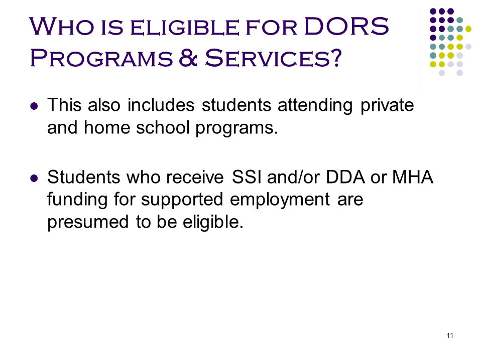 Who is eligible for DORS Programs & Services