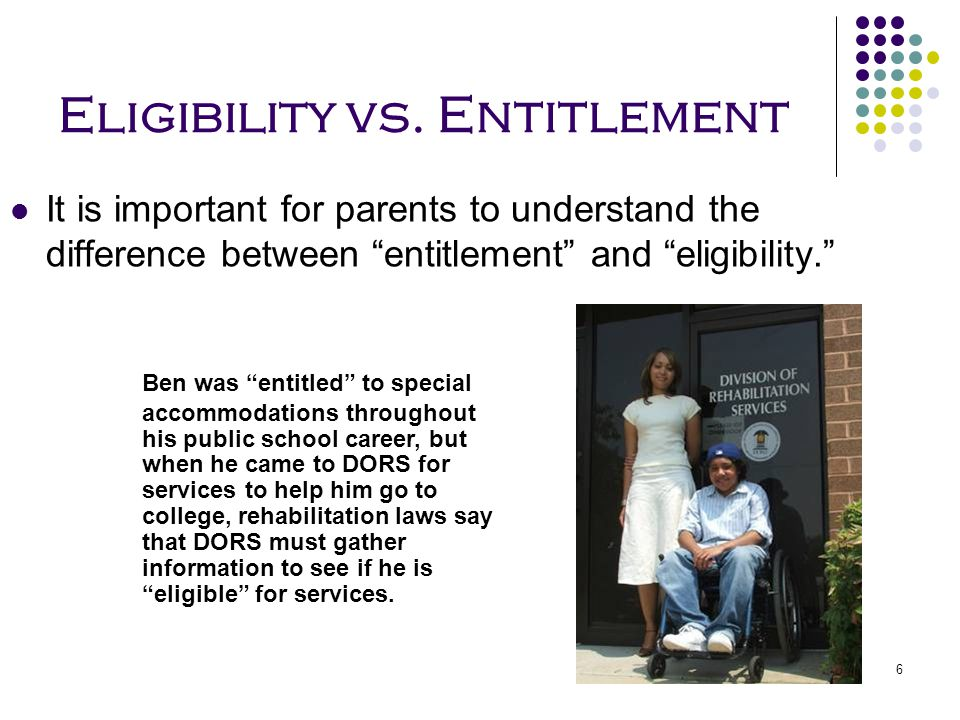Eligibility vs. Entitlement