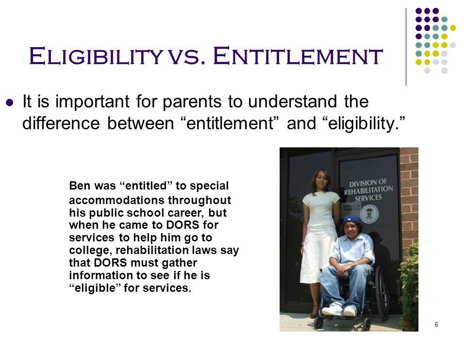 Eligibility vs. Entitlement
