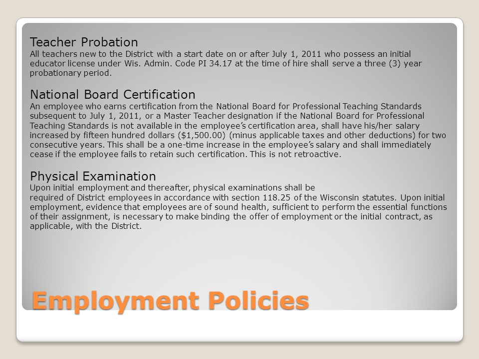 Employment Policies Teacher Probation National Board Certification