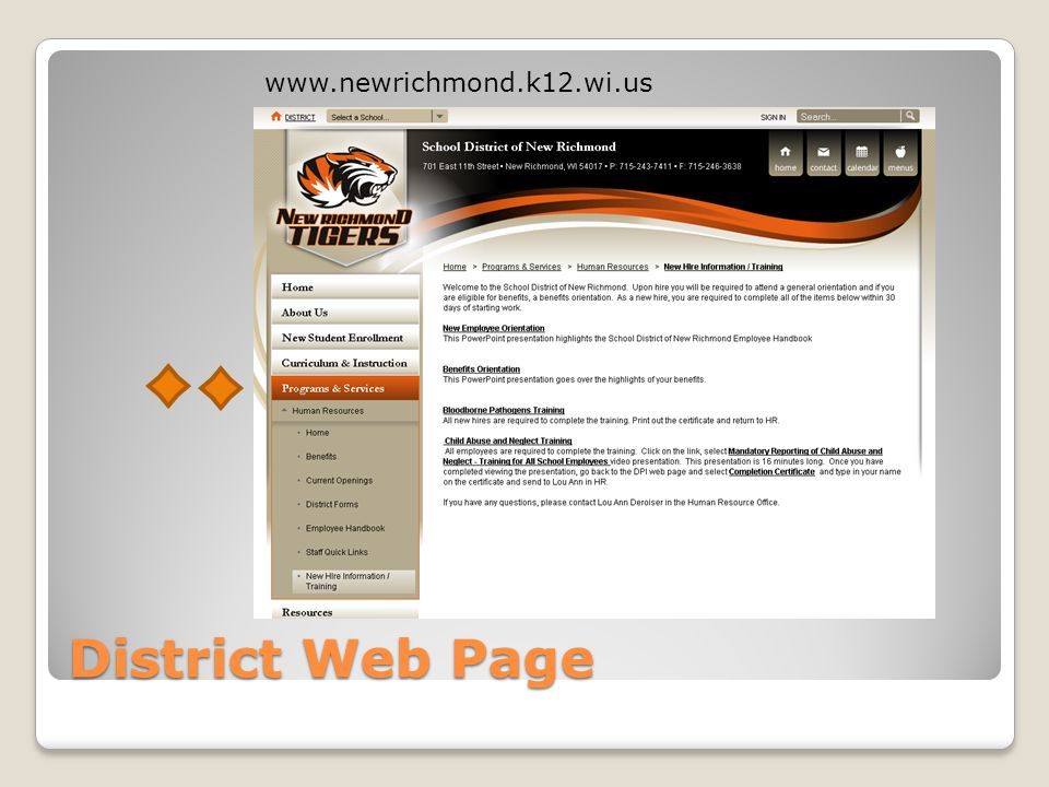 www.newrichmond.k12.wi.us District Web Page