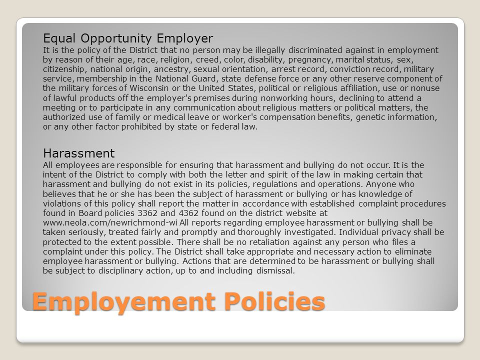 Employement Policies Equal Opportunity Employer Harassment