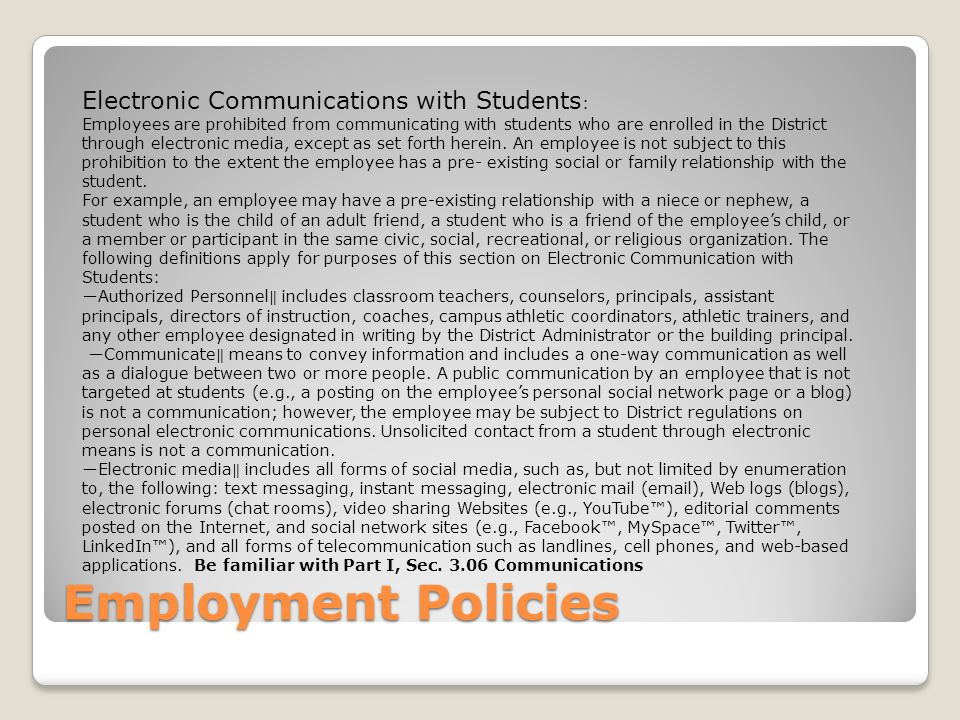 Employment Policies Electronic Communications with Students: