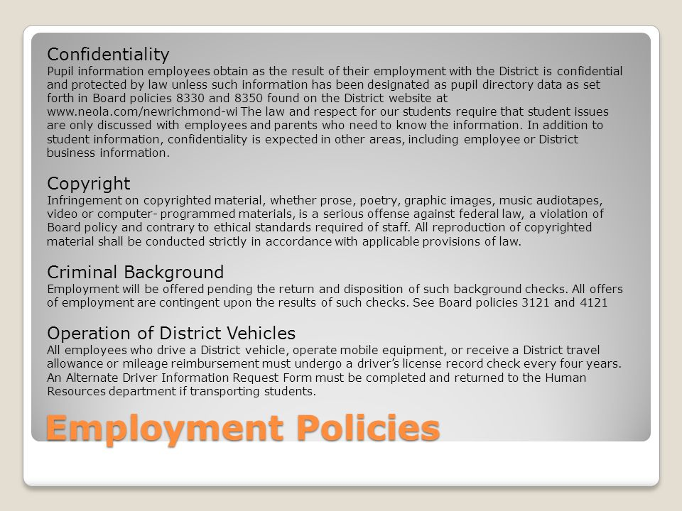 Employment Policies Confidentiality Copyright Criminal Background