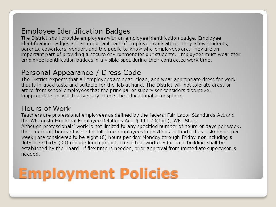 Employment Policies Employee Identification Badges