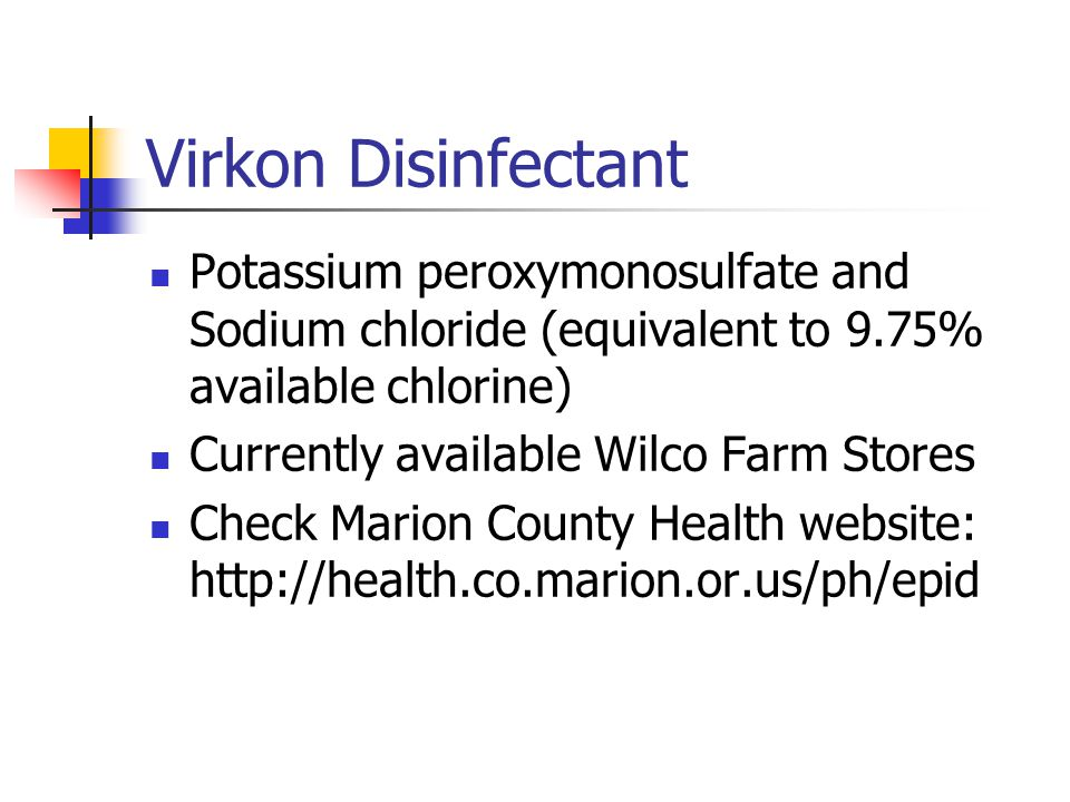 Virkon Disinfectant Potassium peroxymonosulfate and Sodium chloride (equivalent to 9.75% available chlorine)