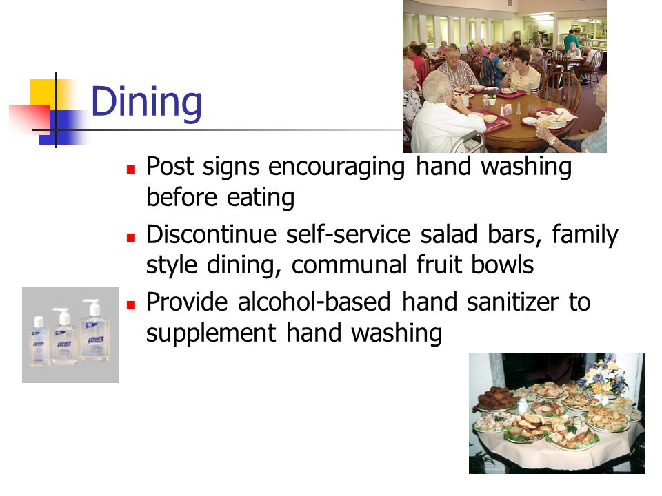 Dining Post signs encouraging hand washing before eating