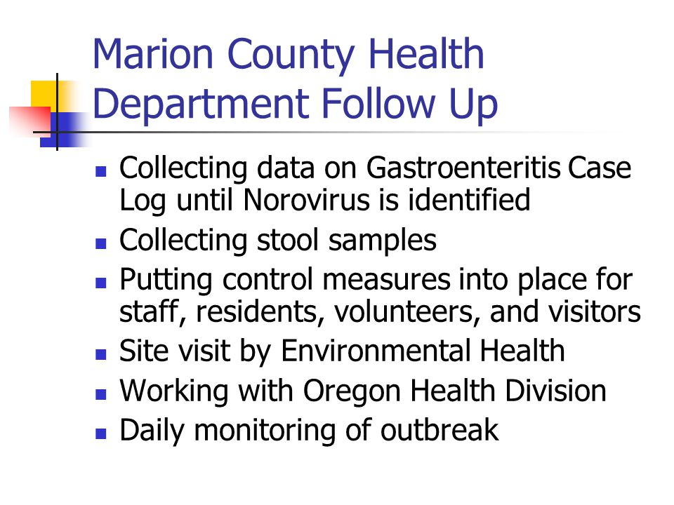 Marion County Health Department Follow Up