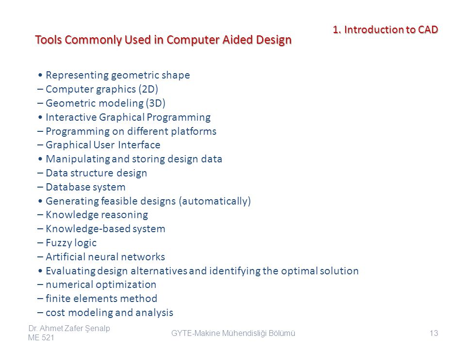 Tools Commonly Used in Computer Aided Design