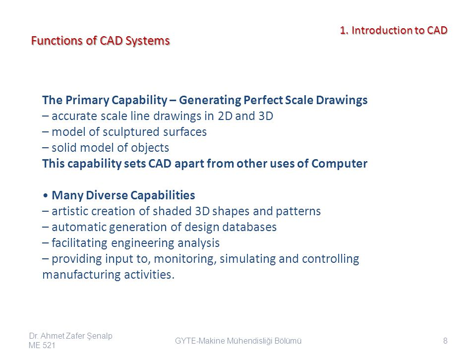 Functions of CAD Systems