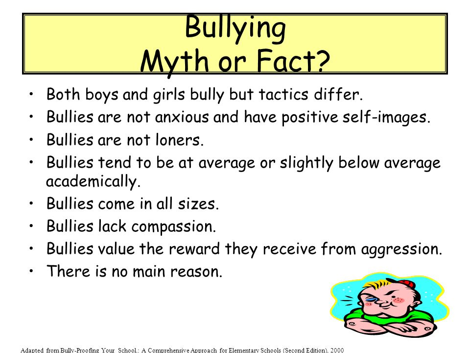 Bullying Myth or Fact Both boys and girls bully but tactics differ.