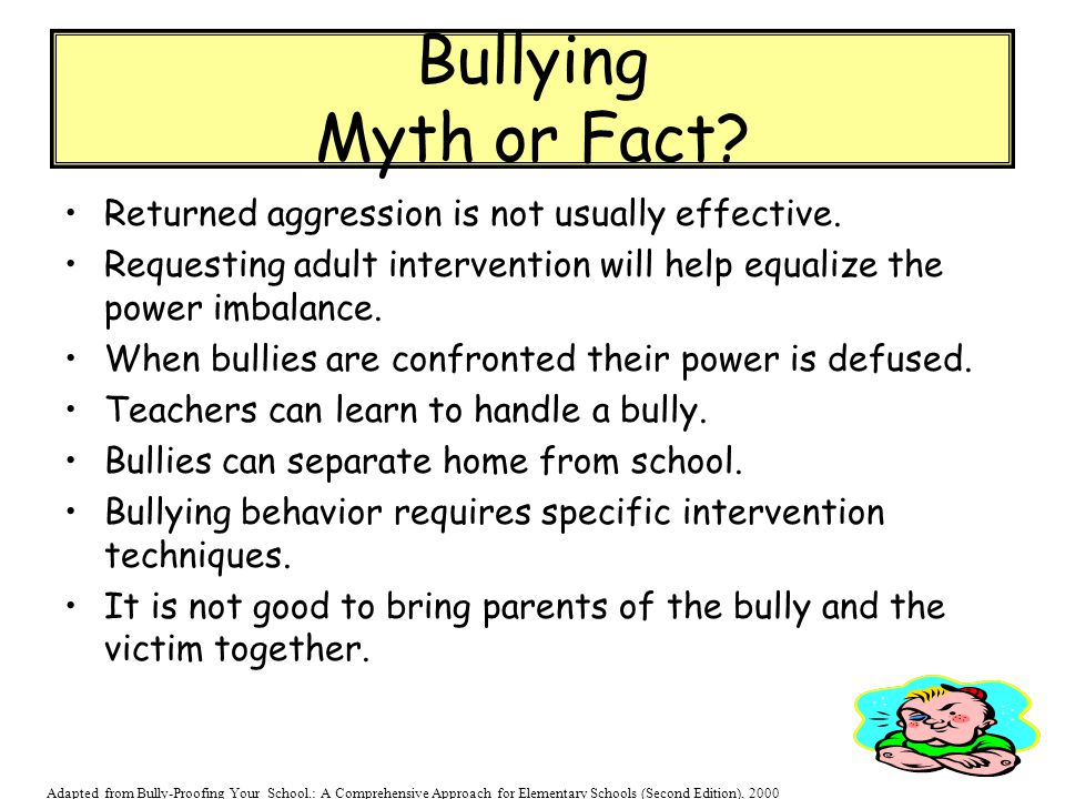 Bullying Myth or Fact Returned aggression is not usually effective.