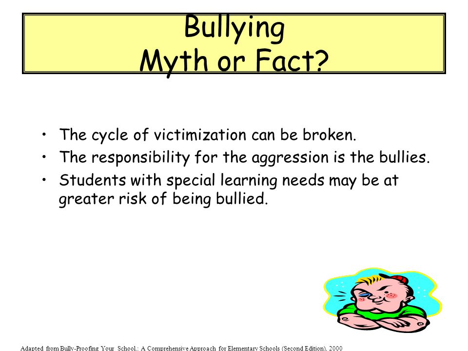 Bullying Myth or Fact The cycle of victimization can be broken.