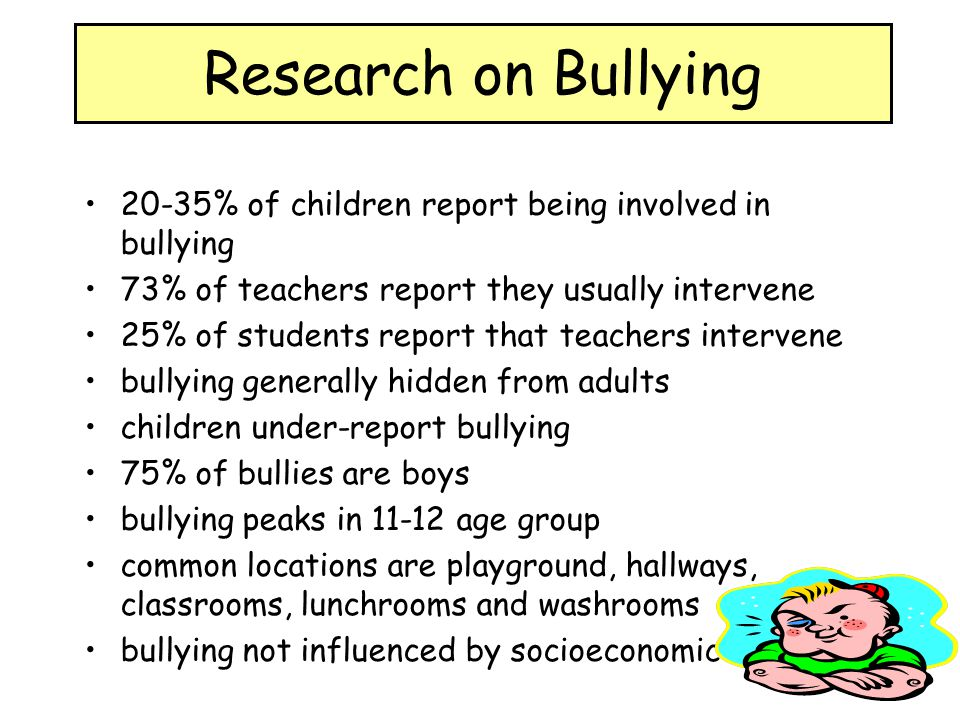 research about bullying A special issue of american psychologist provides a comprehensive review of over 40 years of research on bullying among school age youth,.