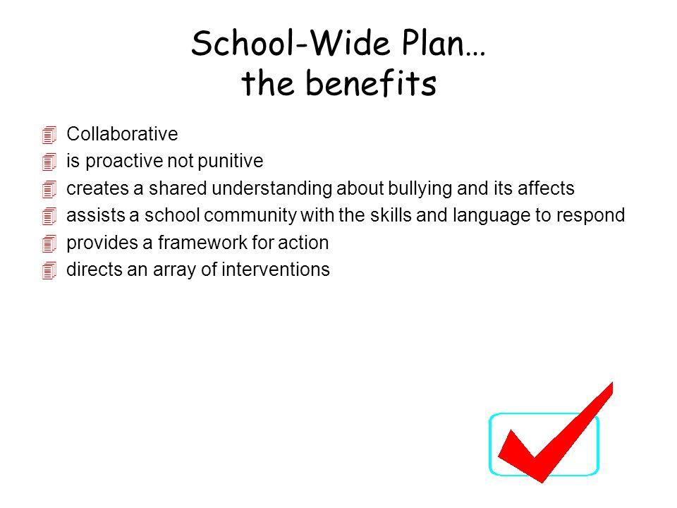 School-Wide Plan… the benefits