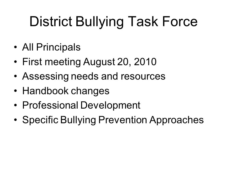 District Bullying Task Force