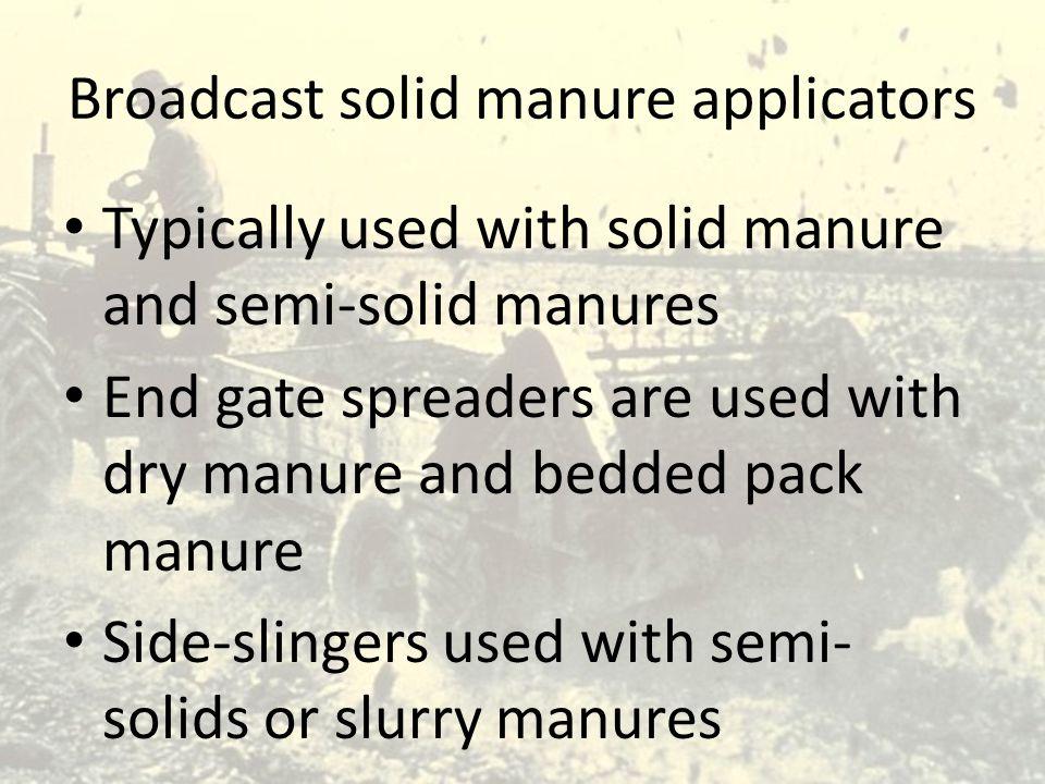 Broadcast solid manure applicators