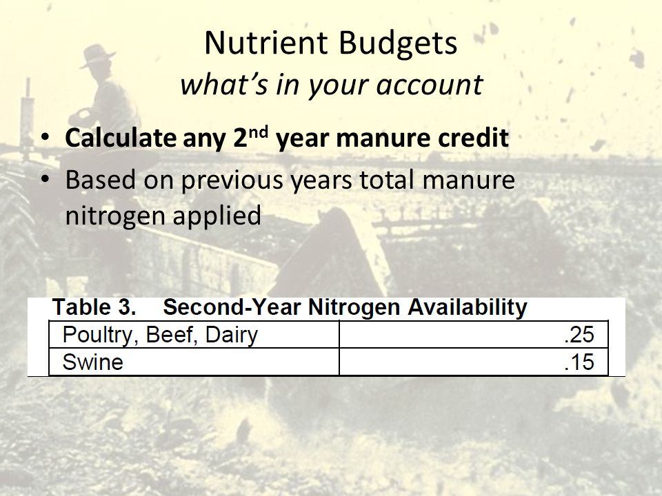 Nutrient Budgets what's in your account