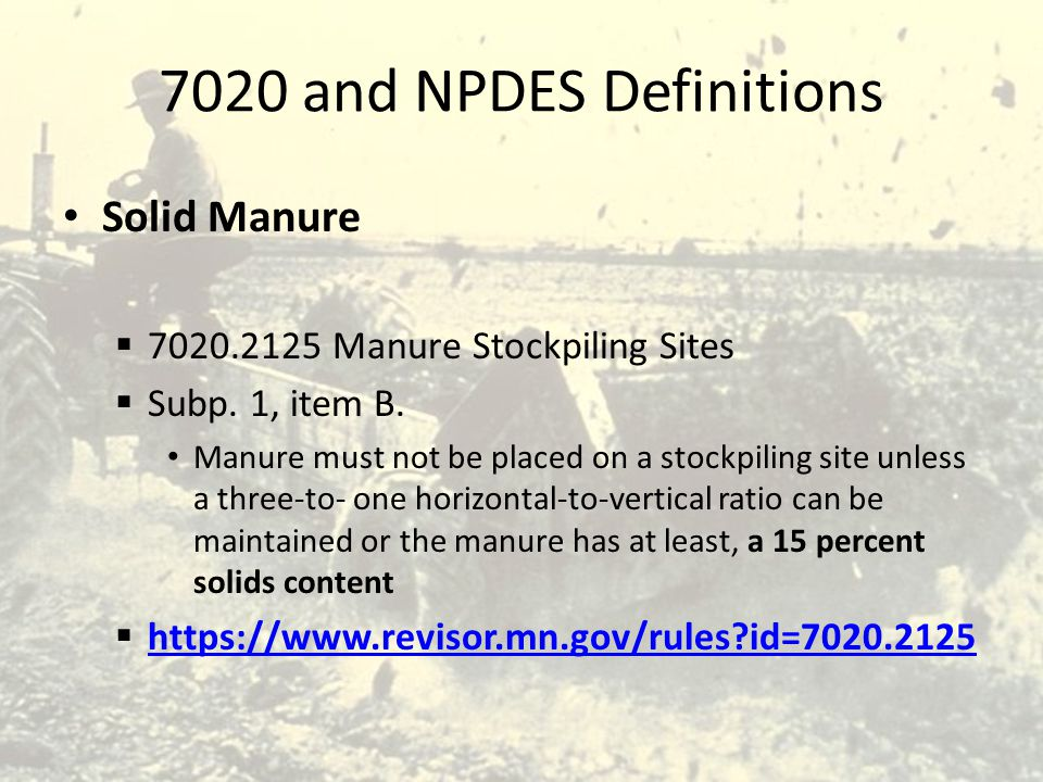 7020 and NPDES Definitions Solid Manure