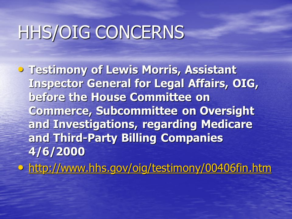 HHS/OIG CONCERNS