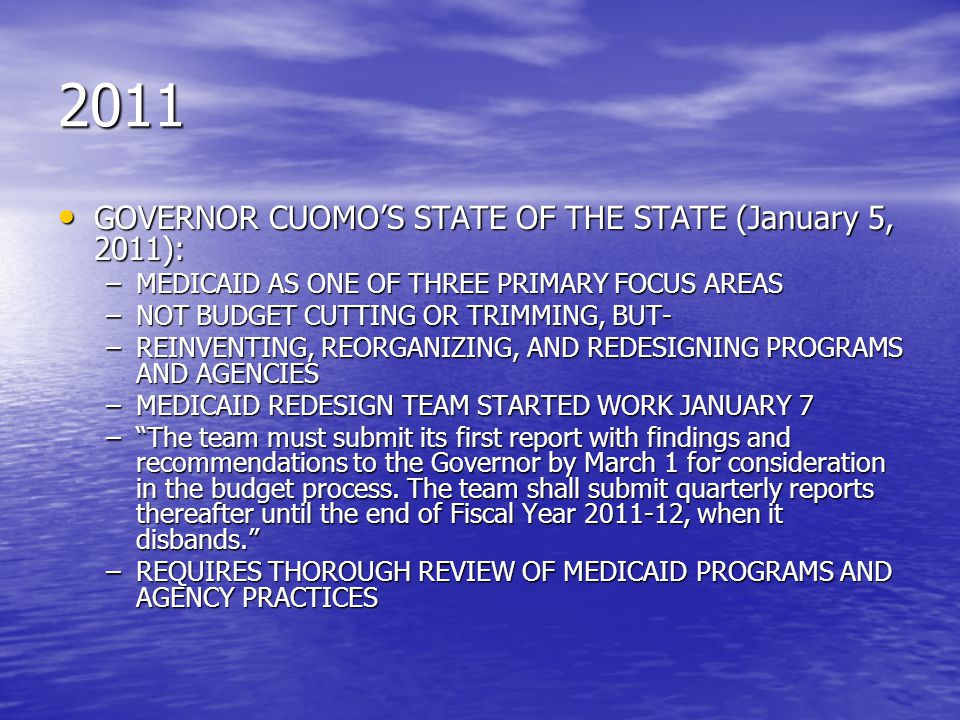 2011 GOVERNOR CUOMO'S STATE OF THE STATE (January 5, 2011):