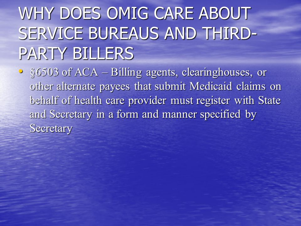 WHY DOES OMIG CARE ABOUT SERVICE BUREAUS AND THIRD- PARTY BILLERS