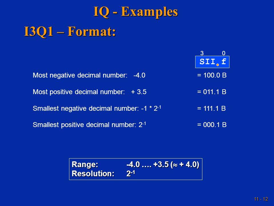 IQ - Examples I3Q1 – Format: