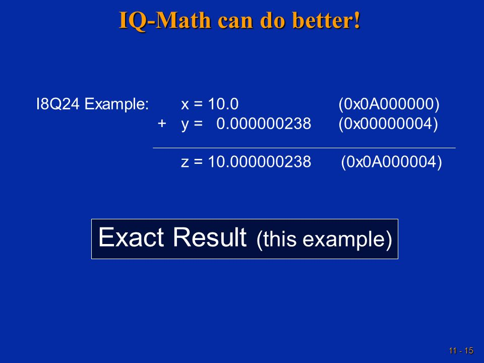 Exact Result (this example)