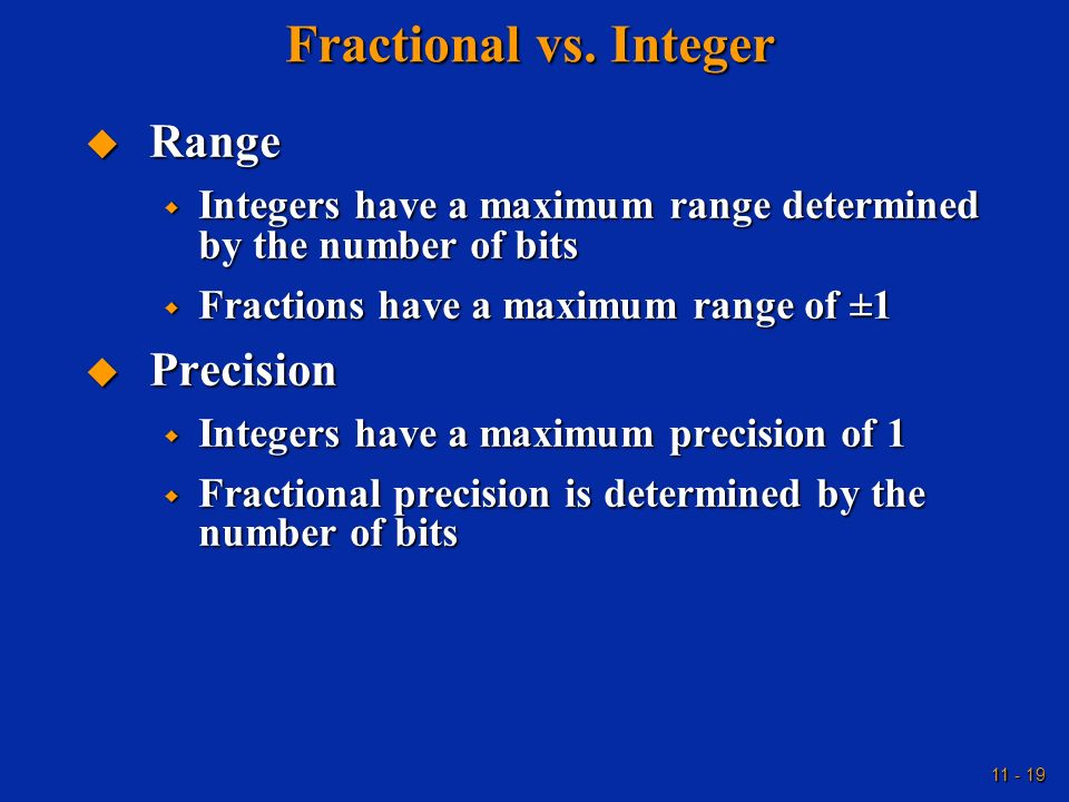 Fractional vs. Integer Range Precision