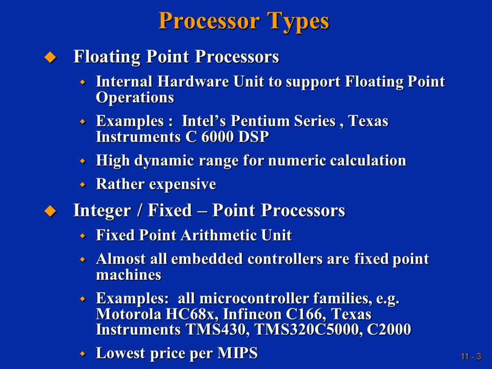 Processor Types Floating Point Processors