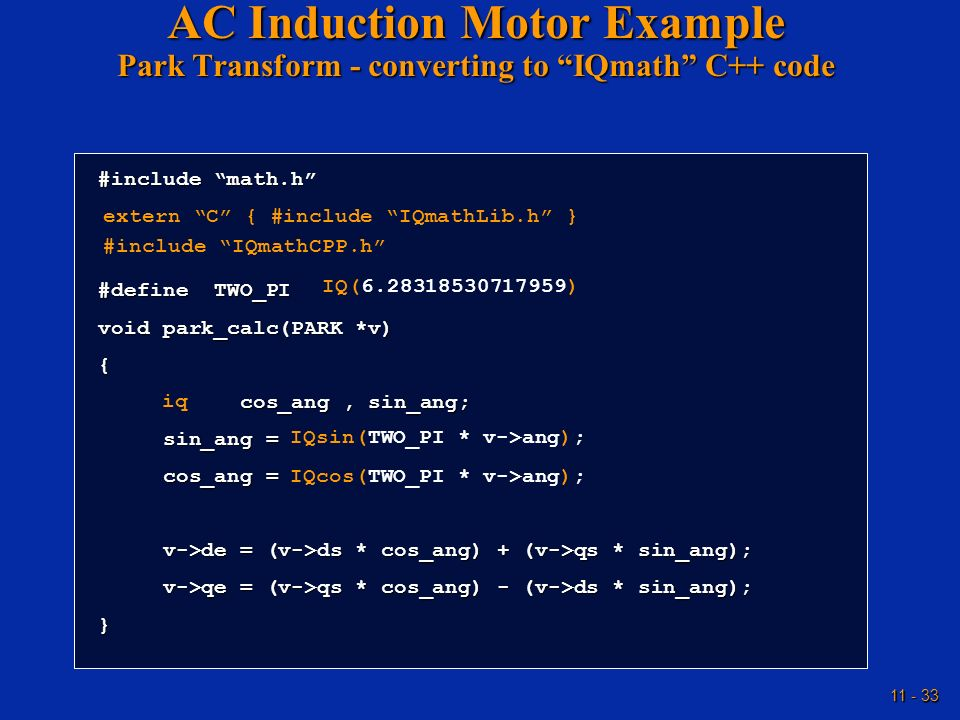 AC Induction Motor Example Park Transform - converting to IQmath C++ code