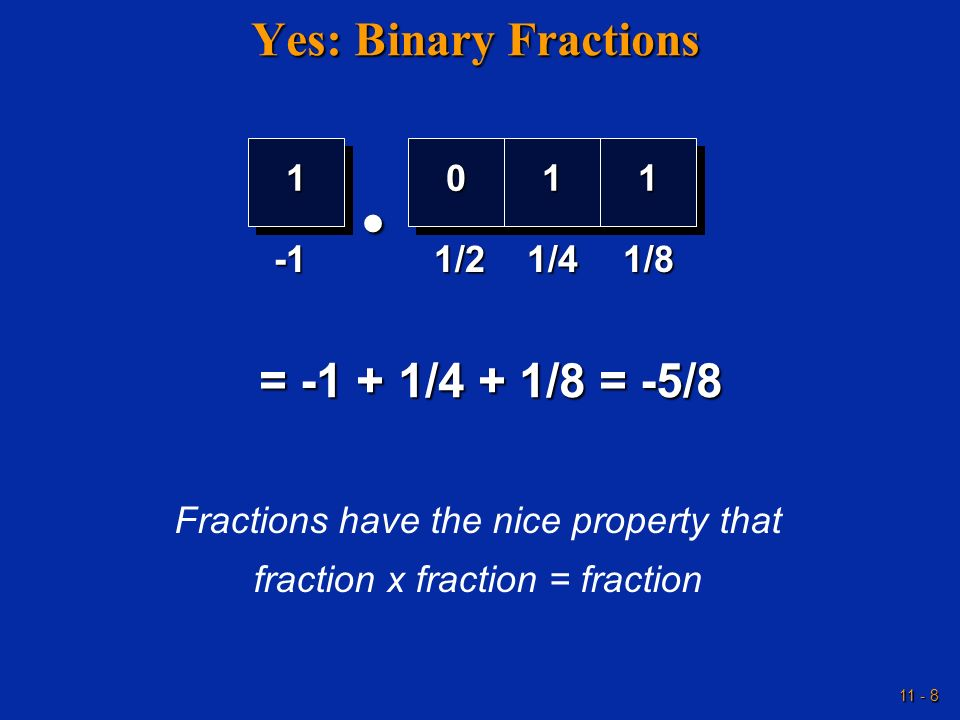 • Yes: Binary Fractions = -1 + 1/4 + 1/8 = -5/8 1 1 1 -1 1/2 1/4 1/8