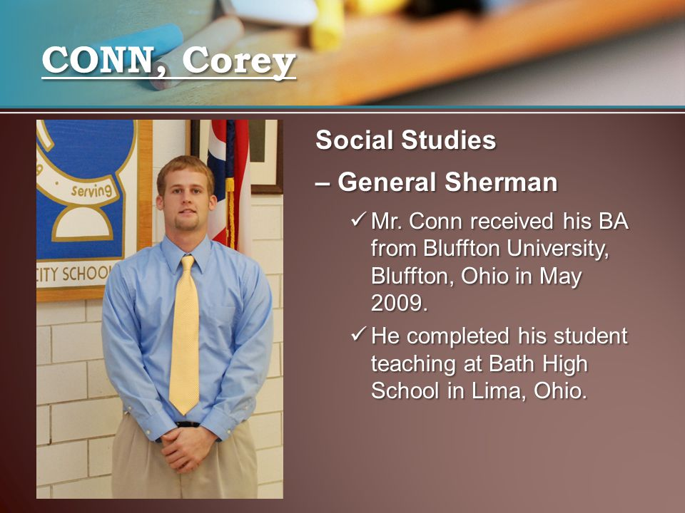 CONN, Corey Social Studies – General Sherman