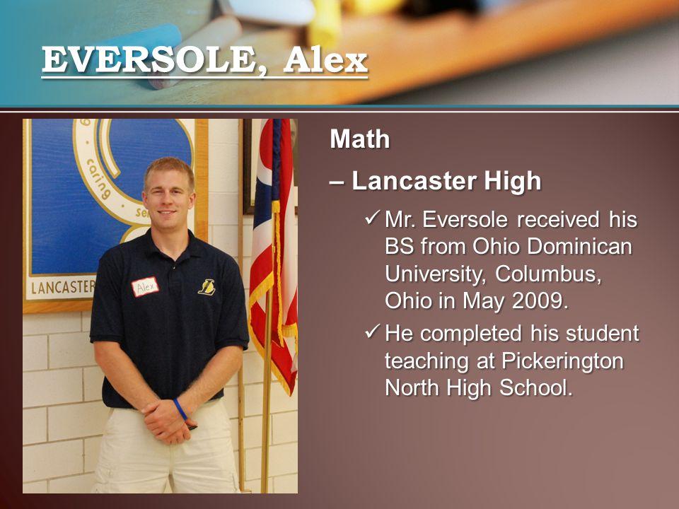 EVERSOLE, Alex Math – Lancaster High