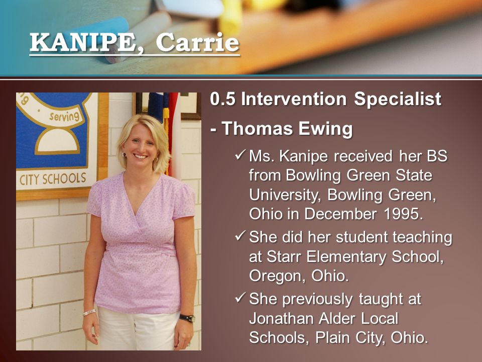 KANIPE, Carrie 0.5 Intervention Specialist - Thomas Ewing