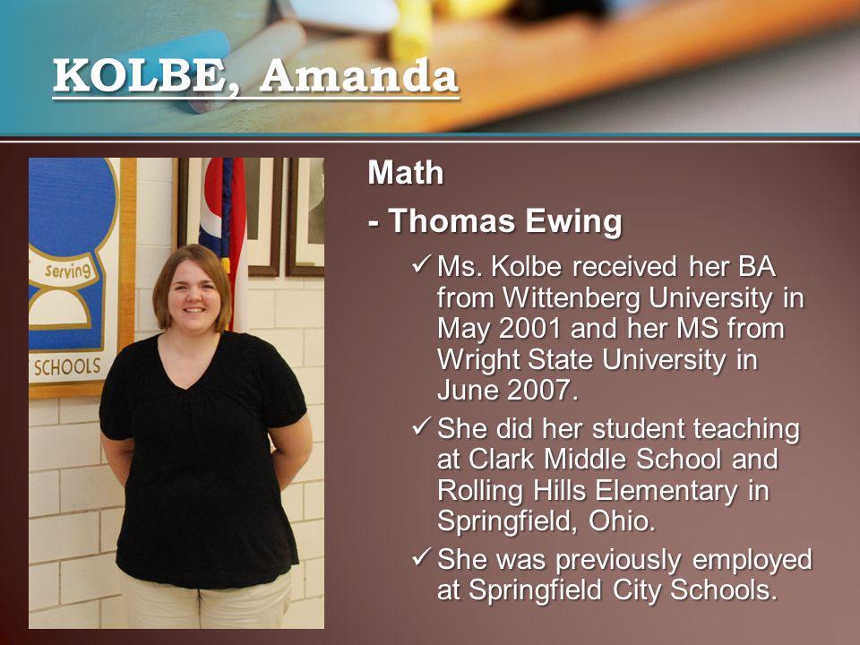KOLBE, Amanda Math - Thomas Ewing