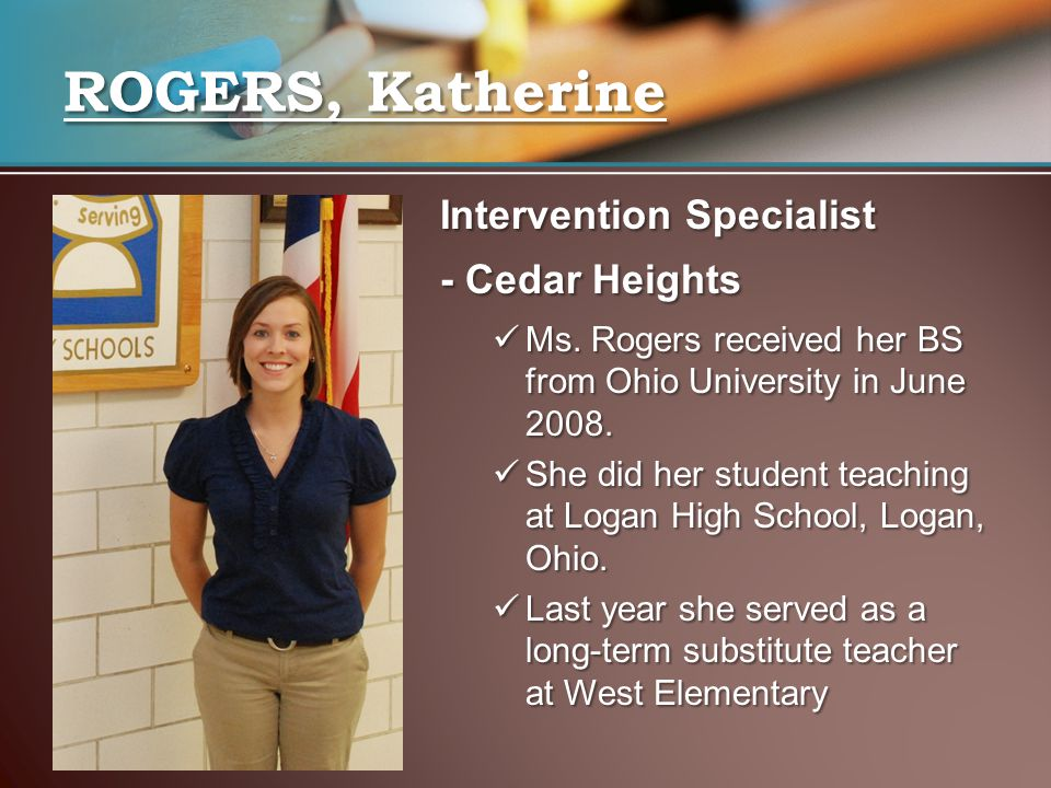 ROGERS, Katherine Intervention Specialist - Cedar Heights