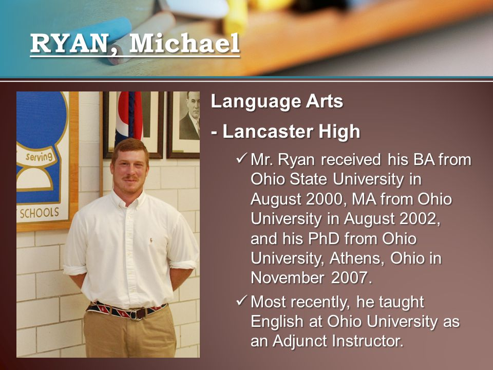 RYAN, Michael Language Arts - Lancaster High